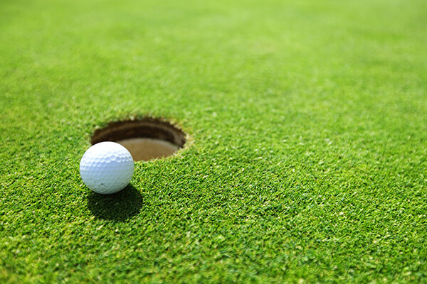 Sports turf with a golf ball sitting on top of it.